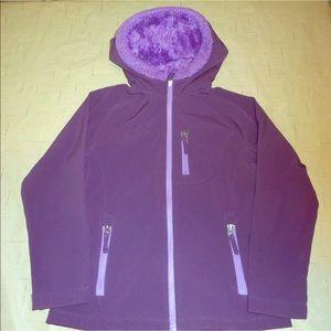 Lands end sz m purple fuzzy hooded coat jacket